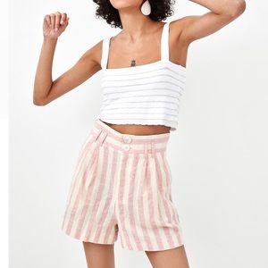 Zara High Waisted Striped Shorts